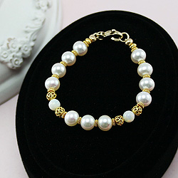Exquisite Josephine™ by My First Pearls® - 22K yellow gold – Grow-With-Me® designer original freshwater cultured pearl bracelet – Personalize with gemstones & charm/