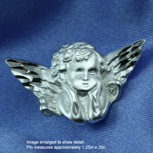 Cherub (Baby Angel) - Sterling Silver Christening / Baptism / First Communion Pin