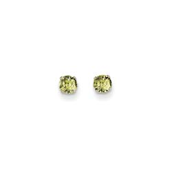 August Birthstone 14K White Gold Earrings for Tweens, Teens, and Women - 4mm Genuine Peridot Gemstone - Push back posts/