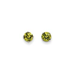 August Birthstone 14K White Gold Earrings for Tweens, Teens, and Women - 5mm Genuine Peridot Gemstone - Push back posts/