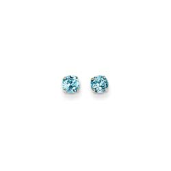 December Birthstone 14K White Gold Earrings for Tweens, Teens, and Women - 4mm Genuine Blue Topaz Gemstone - Push back posts/