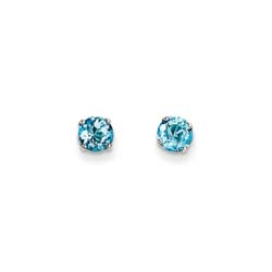 December Birthstone 14K White Gold Earrings for Tweens, Teens, and Women - 5mm Genuine Blue Topaz Gemstone - Push back posts/