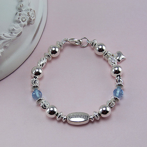 Abigail's Treasure™ – Grow-With-Me® designer original engravable sterling silver bracelet – Personalize with gemstones & charms
