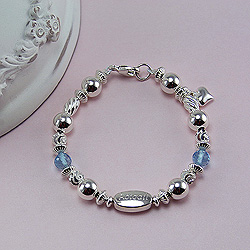 Abigail's Treasure™ – Grow-With-Me® designer original engravable sterling silver bracelet – Personalize with gemstones & charms/