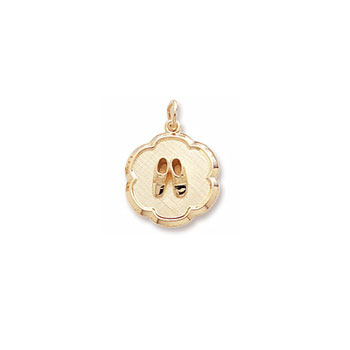 Rembrandt 14K Yellow Gold Baby Shoes Disc Charm – Engravable on back - Add to a bracelet or necklace