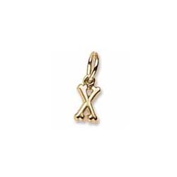 Rembrandt 10K Yellow Gold Tiny Initial X Charm – Add to a bracelet or necklace/
