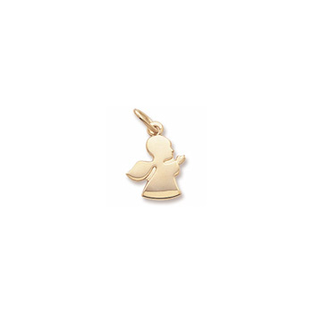Rembrandt 10K Yellow Gold Angel in Prayer Charm (Small) – Engravable on back - Add to a bracelet or necklace