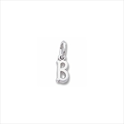 Rembrandt 14K White Gold Tiny Initial B Charm – Add to a bracelet or necklace/