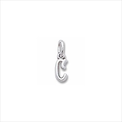 Rembrandt 14K White Gold Tiny Initial C Charm – Add to a bracelet or necklace/