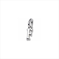 Rembrandt 14K White Gold TIny Initial F Charm – Add to a bracelet or necklace/