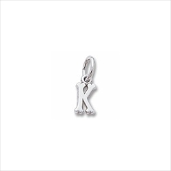 Rembrandt 14K White Gold Tiny Initial K Charm – Add to a bracelet or necklace/