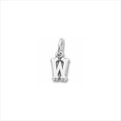 Rembrandt 14K White Gold Tiny Initial W Charm – Add to a bracelet or necklace/