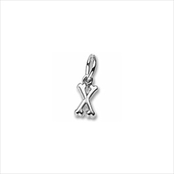 Rembrandt 14K White Gold Tiny Initial X Charm – Add to a bracelet or necklace/