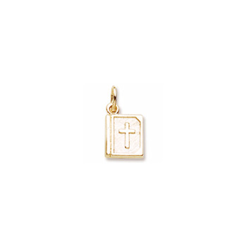 Rembrandt 10K Yellow Gold Bible Charm – Engravable on back - Add to a bracelet or necklace