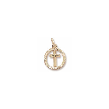 Rembrandt 14K Yellow Gold Tiny Cross Charm with Diamond-Cut with Round Border – Add to a bracelet or necklace