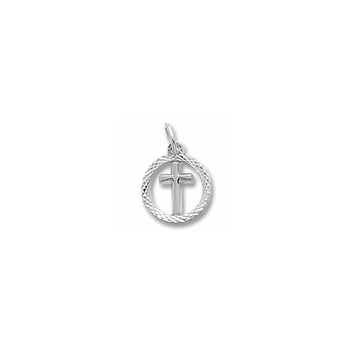 Rembrandt 14K White Gold Tiny Cross Charm with Diamond-Cut with Round Border – Add to a bracelet or necklace