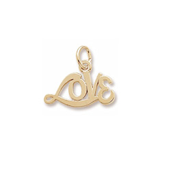 Rembrandt 14K Yellow Gold Medium Love Word Charm – Add to a bracelet or necklace/