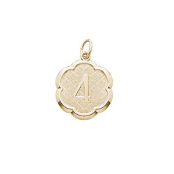 Age 4 Preschool Years - Fourth Birthday Keepsake Charm - 10K Yellow Gold Small Round Rembrandt Charm – Engravable on back - Add to a bracelet or necklace /