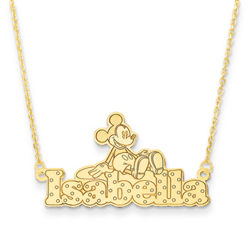 "Disney Mickey Mouse 14K Yellow Gold Name Necklace - Nameplate and 14"" cable chain included - Choice of additional chain lengths available"