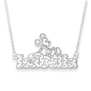"Disney Mickey Mouse Sterling Silver Rhodium Name Necklace - .92mm Double Gauge Nameplate and 1.50mm 14"" rolo chain included - Choice of additional chain lengths available - BEST SELLER"