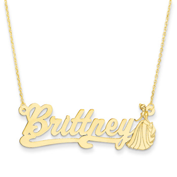 "Disney Cinderella 14K Yellow Gold Name Necklace - Nameplate and 14"" cable chain included - Choice of additional chain lengths available"