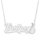 Disney Cinderella Sterling Silver Rhodium Name Necklace - Double Gauge Nameplate and 1.50mm 14