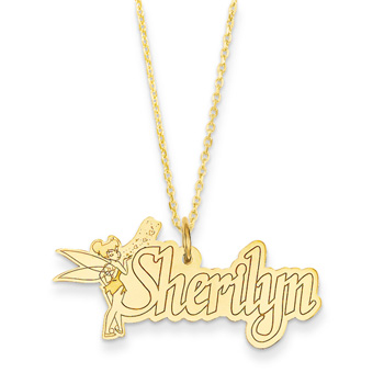 "Disney Tinker Bell 14K Yellow Gold Name Necklace - Nameplate and 14"" cable chain included - Choice of additional chain lengths available"