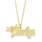 Disney Tinker Bell 14K Yellow Gold Name Necklace - Nameplate and 14