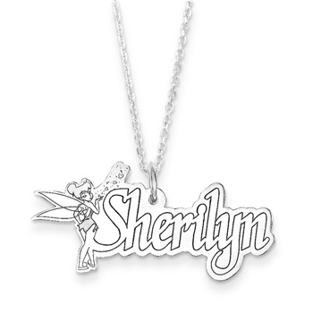 "Disney Tinker Bell 14K White Gold Name Necklace - Nameplate and 14"" cable chain included - Choice of additional chain lengths available"