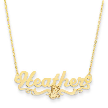 "Disney Belle 14K Yellow Gold Name Necklace - Nameplate and 14"" cable chain included - Choice of additional chain lengths available"
