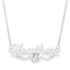 Disney Belle 14K White Gold Name Necklace - Nameplate and 14