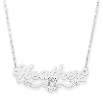 "Disney Belle Sterling Silver Rhodium Name Necklace - Double Gauge Nameplate and 1.50mm 14"" rolo chain included - Choice of additional chain lengths available - BEST SELLER"