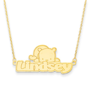 "Disney Winnie the Pooh 14K Yellow Gold Name Necklace - Nameplate and 14"" cable chain included - Choice of additional chain lengths available"
