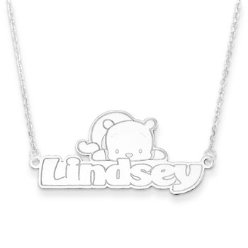 "Disney Winnie the Pooh Sterling Silver Rhodium Name Necklace - .92mm Double Gauge Nameplate and 1.50mm 14"" rolo chain included - Choice of additional chain lengths available - BEST SELLER"