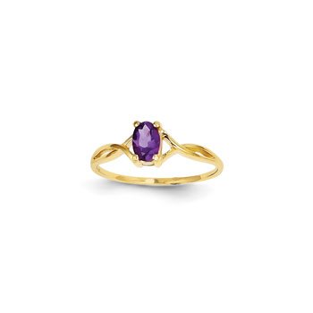 Girl's Birthstone Rings - 14K Yellow Gold Girls Genuine Amethyst Birthstone Ring - Size 5 - Perfect for Grade School Girls, Tweens, or Teens