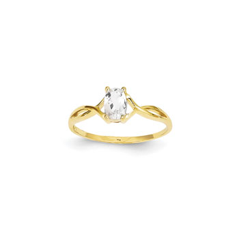 Girl's Birthstone Rings - 14K Yellow Gold Girls Genuine White Topaz Birthstone Ring - Size 5 1/2 - Perfect for Grade School Girls, Tweens, or Teens