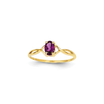 Girl's Birthstone Rings - 14K Yellow Gold Girls Genuine Rhodolite Garnet Birthstone Ring - Size 5 1/2 - Perfect for Grade School Girls, Tweens, or Teens