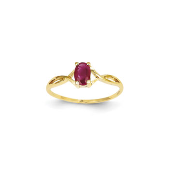 Girl's Birthstone Rings - 14K Yellow Gold Girls Genuine Ruby Birthstone Ring - Size 5 1/2 - Perfect for Grade School Girls, Tweens, or Teens