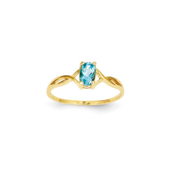 Girl's Birthstone Rings - 14K Yellow Gold Girls Genuine Blue Topaz Birthstone Ring - Size 5 1/2 - Perfect for Grade School Girls, Tweens, or Teens