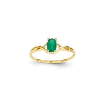 Girl's Birthstone Rings - 14K Yellow Gold Girls Genuine Emerald Birthstone Ring - Size 6 - Perfect for Grade School Girls, Tweens, or Teens