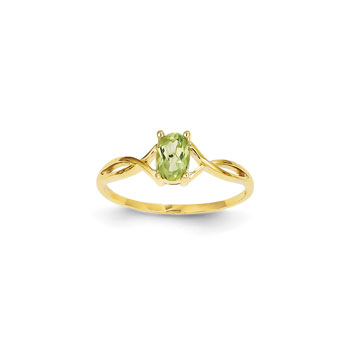 Girl's Birthstone Rings - 14K Yellow Gold Girls Genuine Peridot Birthstone Ring - Size 6 - Perfect for Grade School Girls, Tweens, or Teens - BEST SELLER