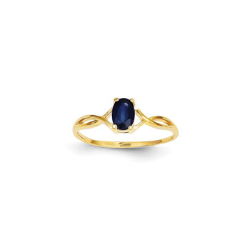 Girl's Birthstone Rings - 14K Yellow Gold Girls Genuine Blue Sapphire Birthstone Ring - Size 6 - Perfect for Grade School Girls, Tweens, or Teens