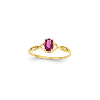 Girl's Birthstone Rings - 14K Yellow Gold Girls Genuine Pink Tourmaline Birthstone Ring - Size 6 - Perfect for Grade School Girls, Tweens, or Teens