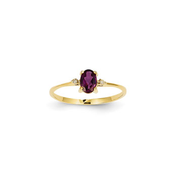 Girls Diamond Birthstone Ring - Genuine Rhodolite Garnet Birthstone with Diamond Accents - 14K Yellow Gold - Size 4