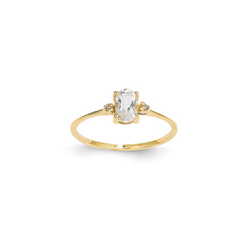 Girls Diamond Birthstone Ring - Genuine White Topaz Birthstone with Diamond Accents - 14K Yellow Gold - Size 5