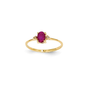 Girls Diamond Birthstone Ring - Genuine Ruby Birthstone with Diamond Accents - 14K Yellow Gold - Size 5