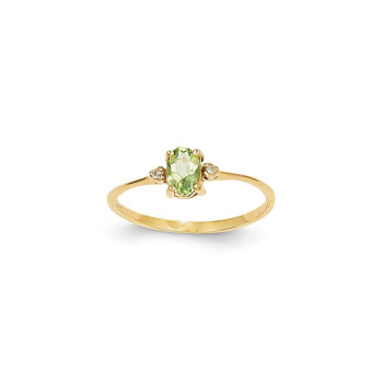 Girls Diamond Birthstone Ring - Genuine Peridot Birthstone with Diamond Accents - 14K Yellow Gold - Size 5