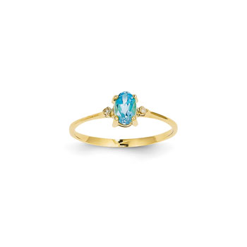 Girls Diamond Birthstone Ring - Genuine Blue Topaz Birthstone with Diamond Accents - 14K Yellow Gold - Size 5 - BEST SELLER