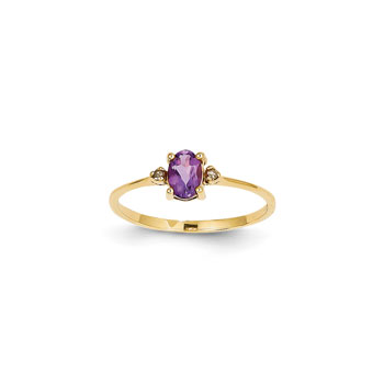 Girls Diamond Birthstone Ring - Genuine Amethyst Birthstone with Diamond Accents - 14K Yellow Gold - Size 6