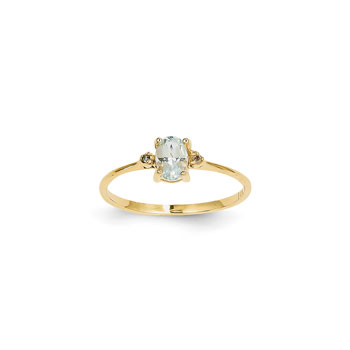 Girls Diamond Birthstone Ring - Genuine Aquamarine Birthstone with Diamond Accents - 14K Yellow Gold - Size 6